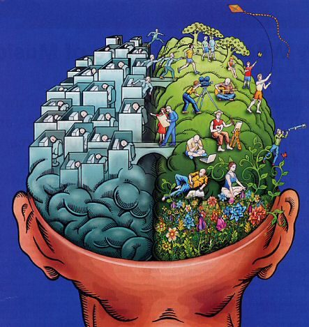 Cartoon of left brain and right brain, with cities in each